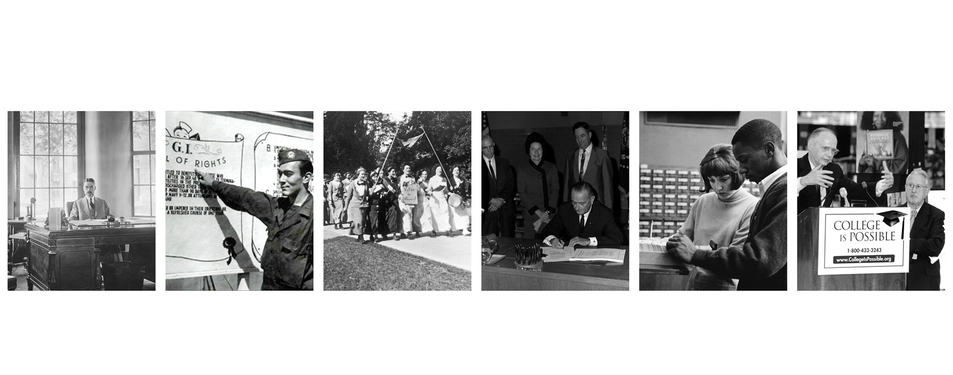 A collage of photos about ACE's history and the history of higher education