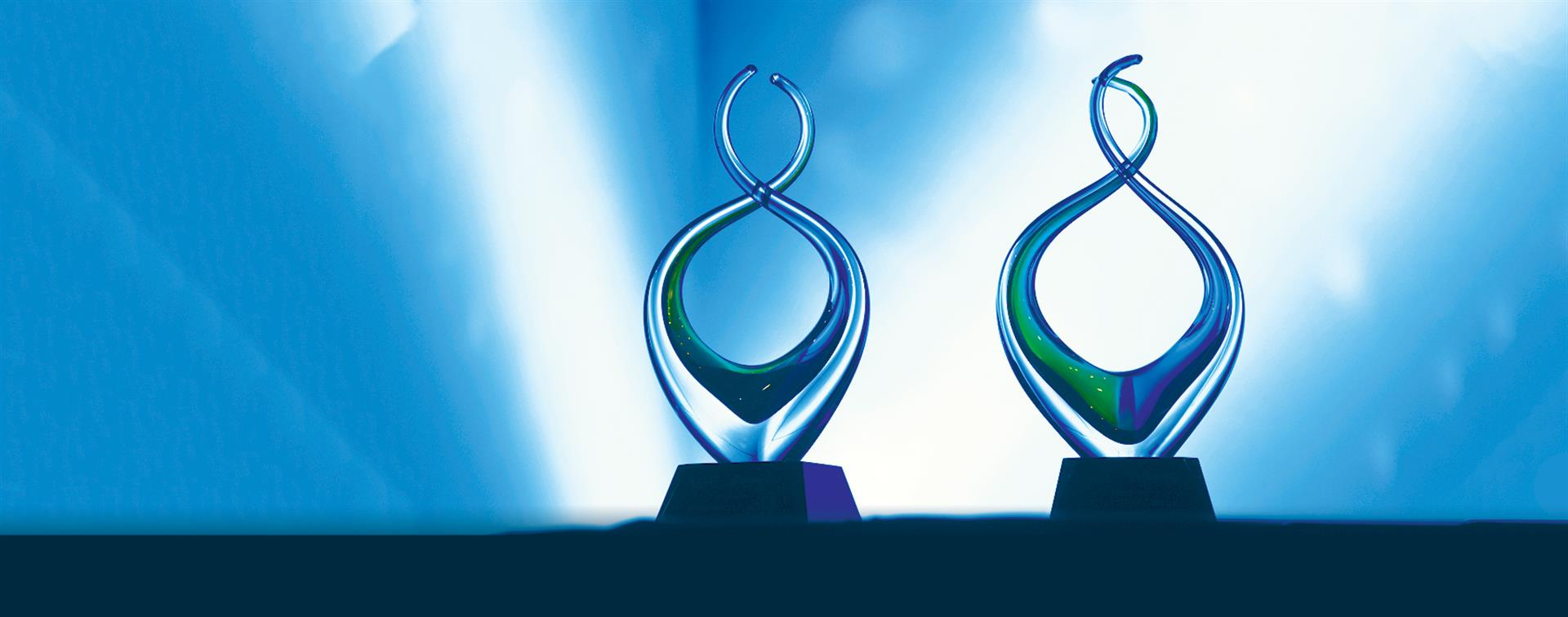 A picture of glass award sculptures on a table