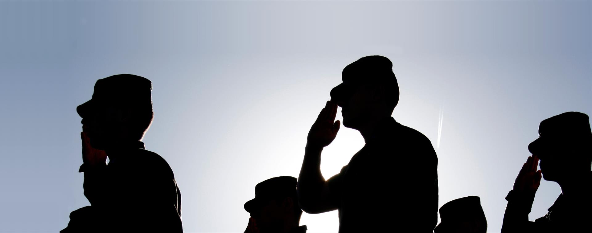 Picture of service members saluting