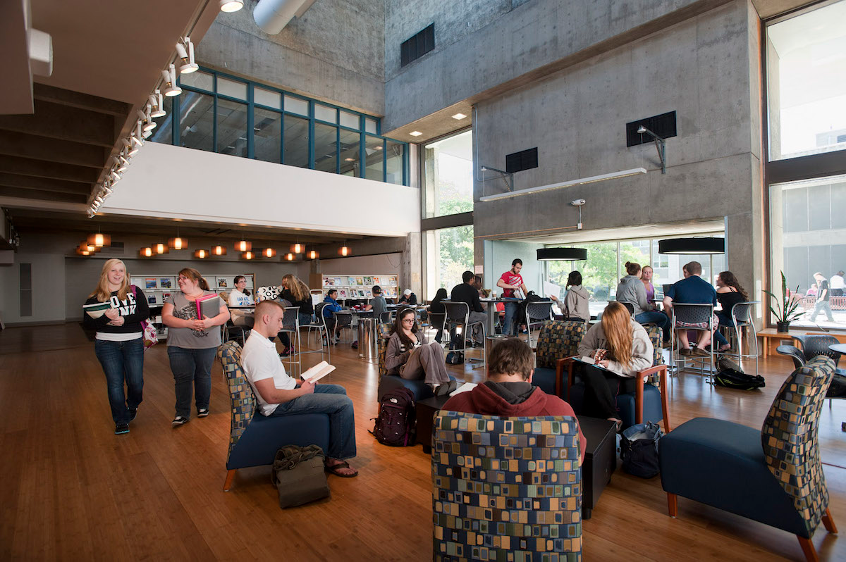 Students work and relax in HVCC's Marvin Library Learning Commons.